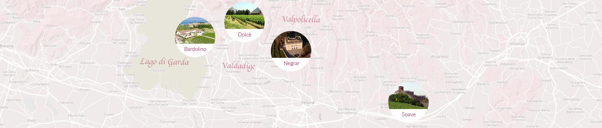 Mappa tenute Guerrieri Rizzardi - Veneto